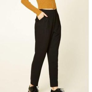 Black Contemporary High-Rise Trousers| Forever 21